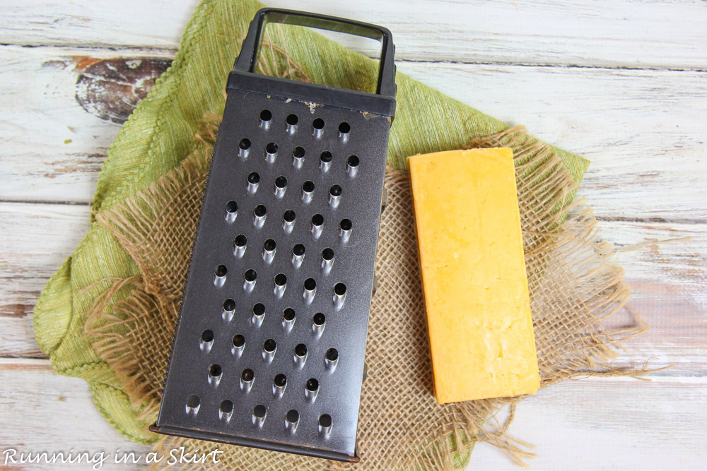 Photo showing how to grate the cheese.