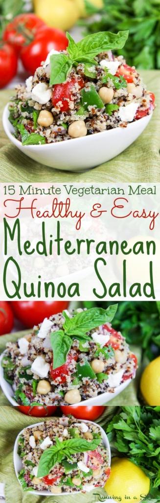 15 Minute Vegetarian Meal Mediterranean Quinoa Salad recipe / Running in a Skirt