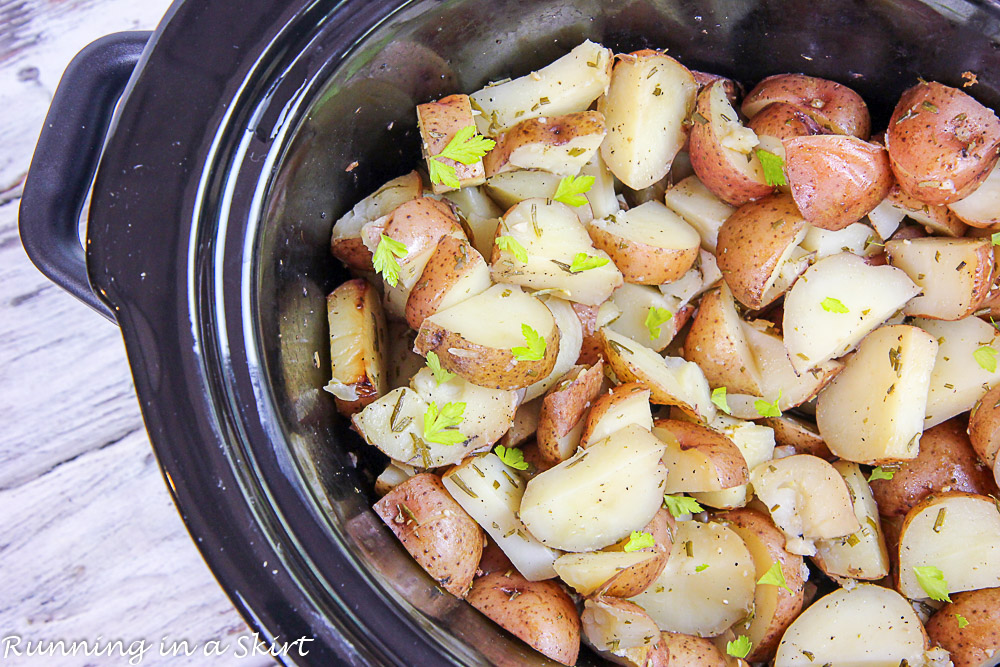 Cooked red potatoes in the crock pot.