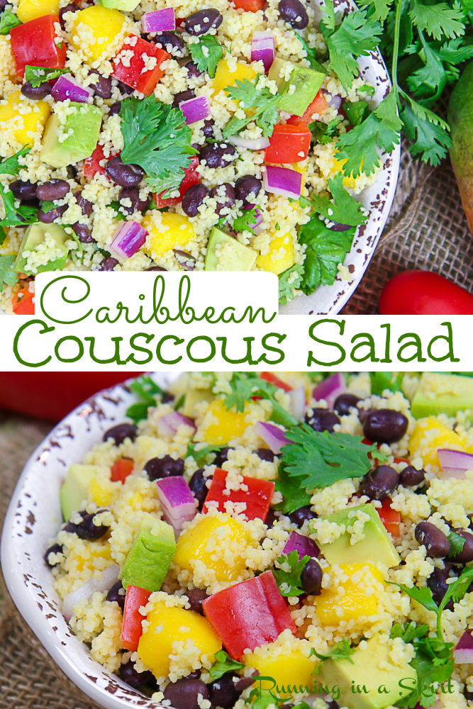 Caribbean Couscous Salad Recipe - Healthy, Easy, Vegan & Cold with Cilantro, Lime, Black Beans, Mango, Avocado, Bell Pepper, and Onion. Plus the perfect dressing. Looking for the best Couscous recipes? This is it! Has Southwest, Mexican, or summer flavoring and confetti coloring! A great vegan side dish for a cookout, lunch or dinner. / Running in a Skirt #couscous #healthsalad #mango #blackbeans #laborday via @juliewunder