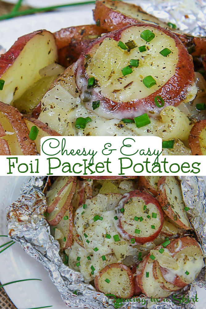 Foil Packet Potatoes for the grill, oven, or campfire! These Cheesy Foil Packet Grilled Potatoes use two different types of cheese (parmesan and mozzarella) and are the perfect healthy cookout side dish for dinners at home, bbq, or for camping. Use red potatoes, russet or sweet potatoes. Easy, simple, healthy with no clean up! You'll love this Garlic Parmesan Potato Recipe! Vegetarian, Gluten Free / Running in a Skirt #cookout #sidedish #healthy #dinner #foilpacket #grilling #campfirerecipe via @juliewunder