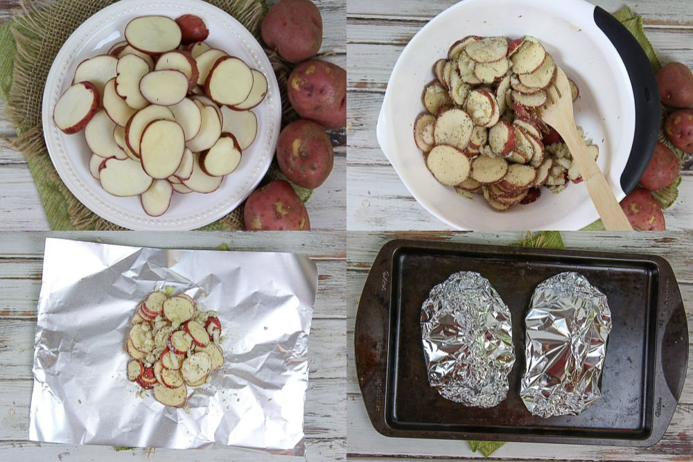 Process photos collage showing how to grill the potatoes in foil.