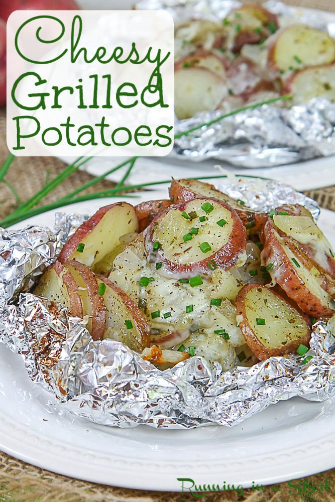 Grilled Potatoes in Foil pinterest pin.