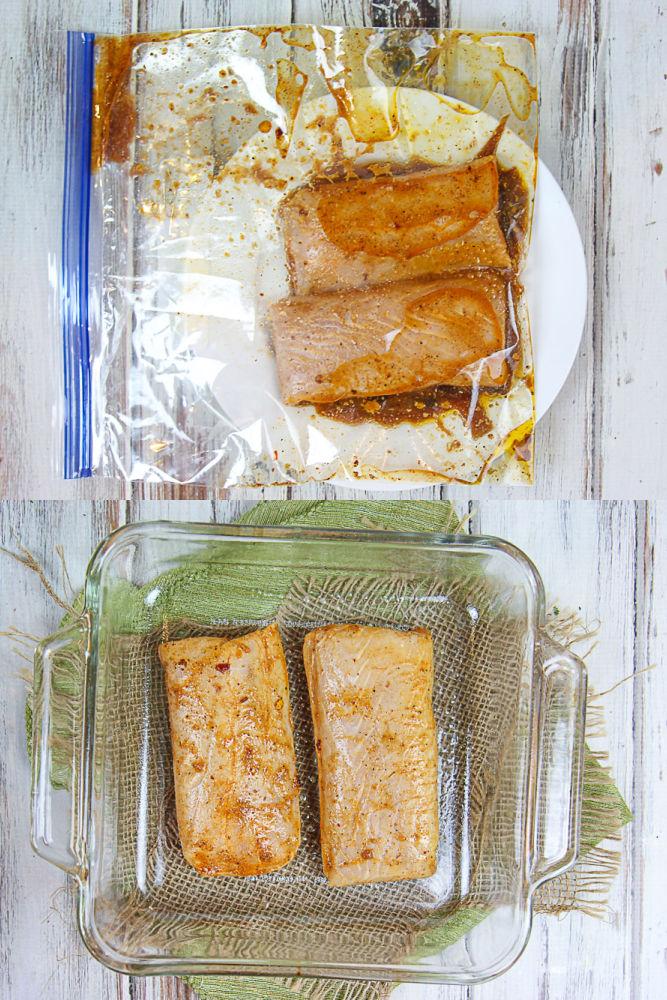 Process collage showing how to prepare the Mahi Mahi.
