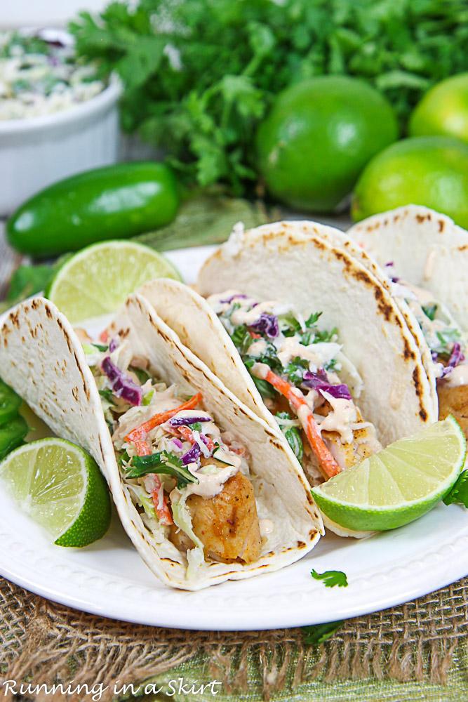 Mahi Mahi Fish Tacos on a plate.