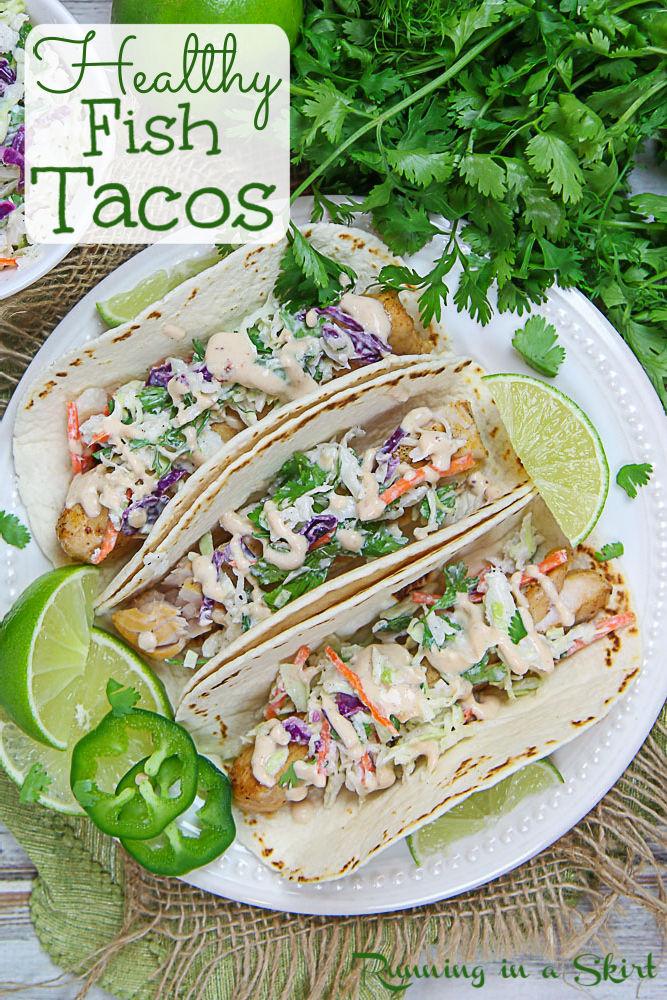 Healthy Mahi Mahi Fish Tacos and Chipotle Sauce for Fish Tacos Pinterest Pin.