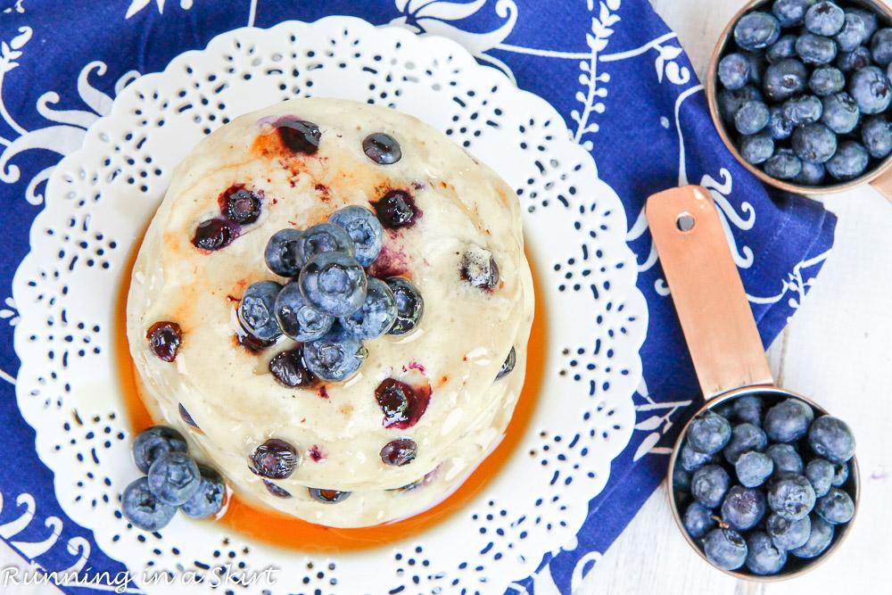 Greek Yogurt Blueberry Pancakes recipe / Running in a Skirt