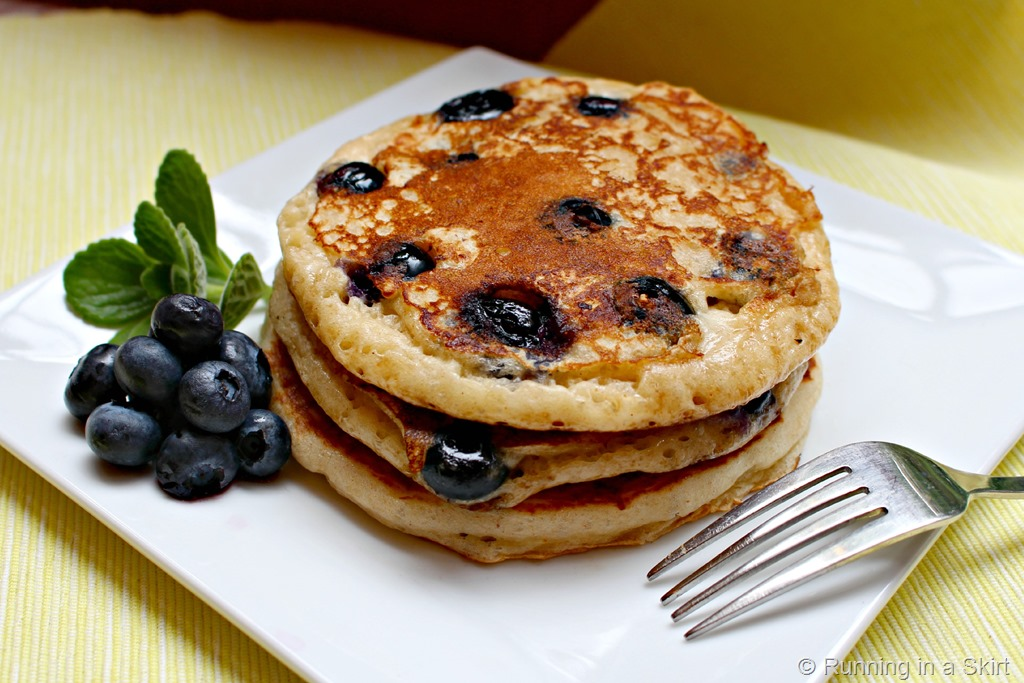 Greek Yogurt Blueberry Pancakes | Running in a Skirt
