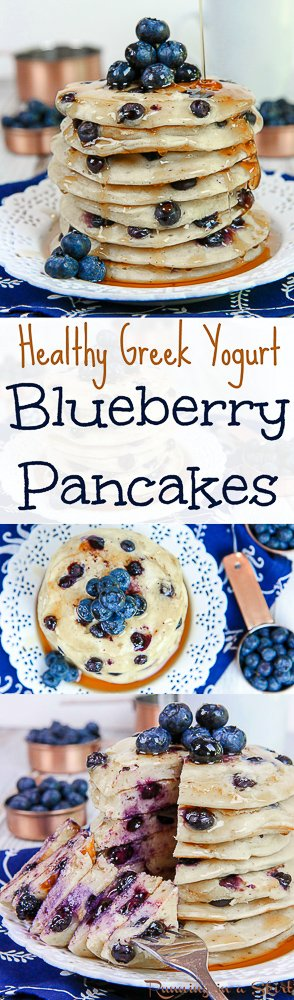 The Best Healthy Greek Yogurt Blueberry Pancakes recipe! How to make an easy, homemade, fluffy and moist pancake from scratch. Uses cinnamon and has whole wheat and honey options! The best healthy breakfasts and brunch recipes. / Running in a Skirt via @juliewunder