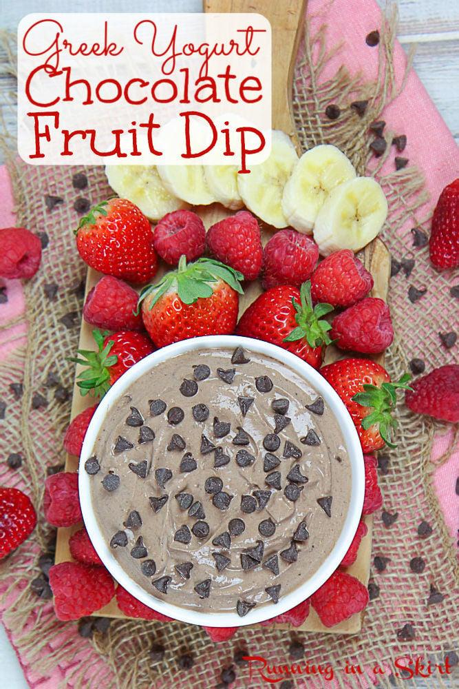 Dark Chocolate Greek Yogurt Dip pinterest pin.