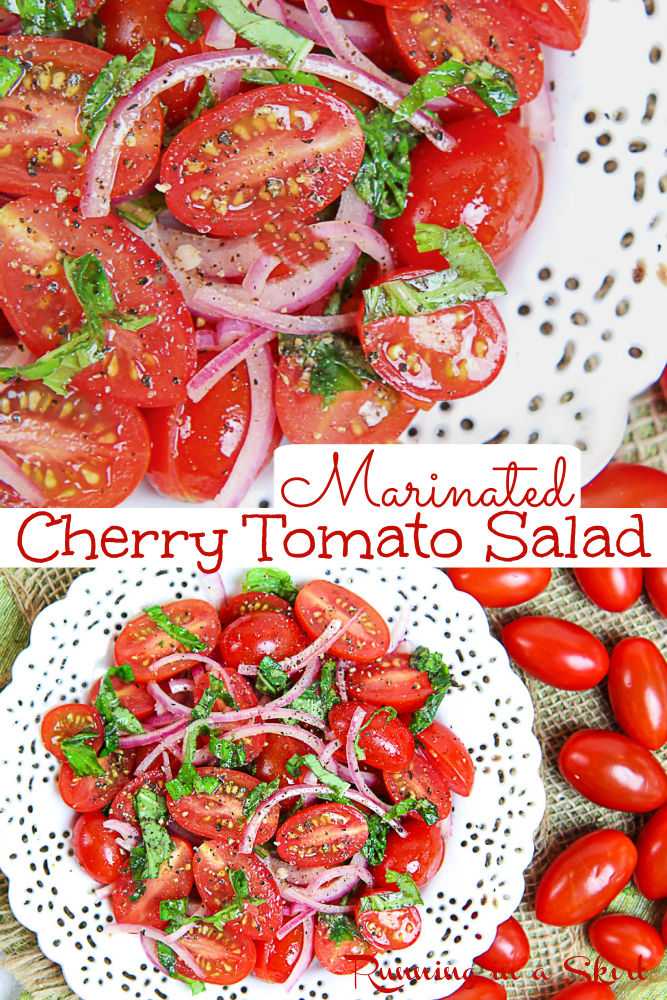 Marinated Cherry Tomatoes Salad recipe. The Best Tomato Salad with fresh herbs (basil), red onions, and a light Italian vinaigrette - dressing with olive oils and vinegar. A simple, healthy, easy summer salad and summer side dish. Serve alone, with bread for bruschetta or with mozzarella or burrata. Looking for simple salad recipes? This is it! Vegan, Vegetarian, Gluten Free, Low Carb, Clean Eating / Running in a Skirt #tomatosalad #healthyrecipes #tomato #vegan #vegetarian via @juliewunder