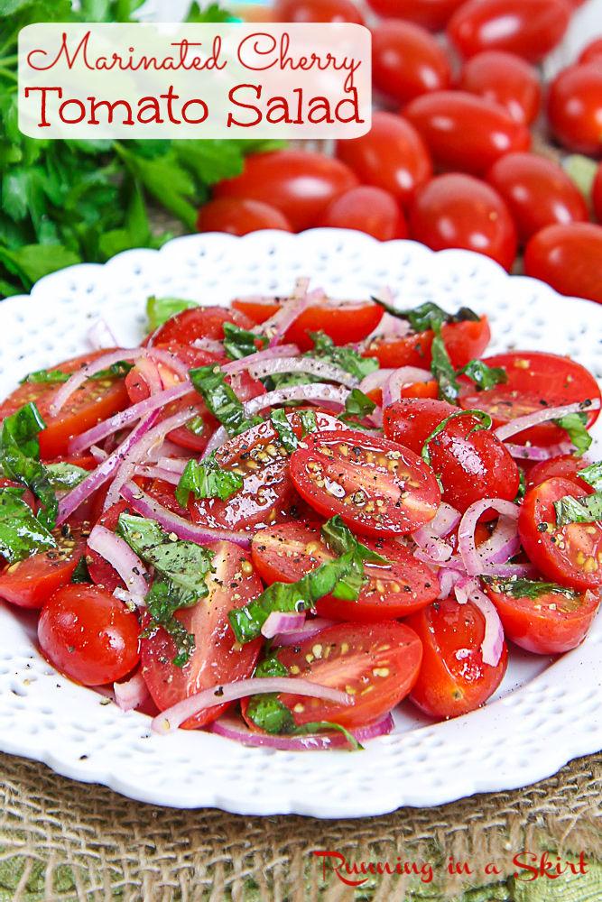 Marinated Cherry Tomatoes or Cherry Tomato Salad pinterest pin.