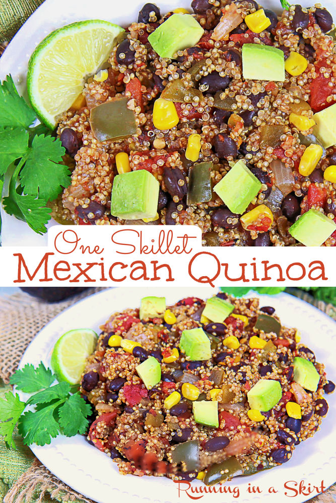 One Skillet Mexican Quinoa recipe made in one pan! Looking for healthy Mexican Quinoa recipes? This one is perfect because it's vegan, vegetarian, easy, clean eating, homemade, light, healthy, and delicious. Perfect for side dishes or main course. Made in one pan in less than 20 minutes. Use the quinoa in a bowl with toppings or as vegan taco or burrito filling. Filled with black beans, tomato, corn, onion, and bell pepper. Topped with avocado. / Running in a Skirt #quinoa #vegan #vegetarian via @juliewunder