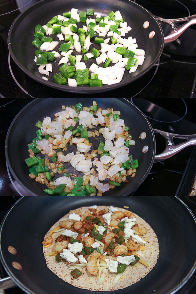 Process photos showing how to make the quesadilla.