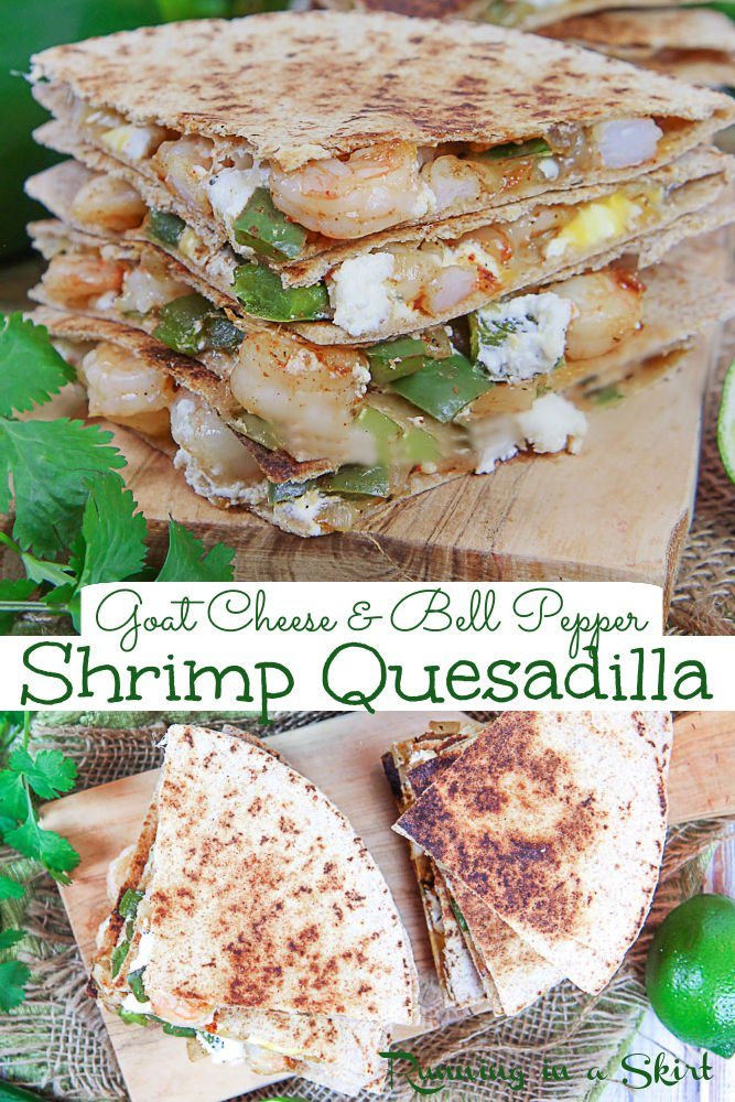 Healthy Shrimp Quesadilla recipe with goat cheese, peppers, Mexican cheese, and sauteed shrimp. An easy and simple Shrimp Goat Cheese Quesadilla with loads of flavor! This healthy Mexican recipe is cheesy but healthy. You'll love this quesadilla with shrimp and peppers. Pescatarian, Clean Eating / Running in a Skirt #mexican #healthy #pescatarian via @juliewunder