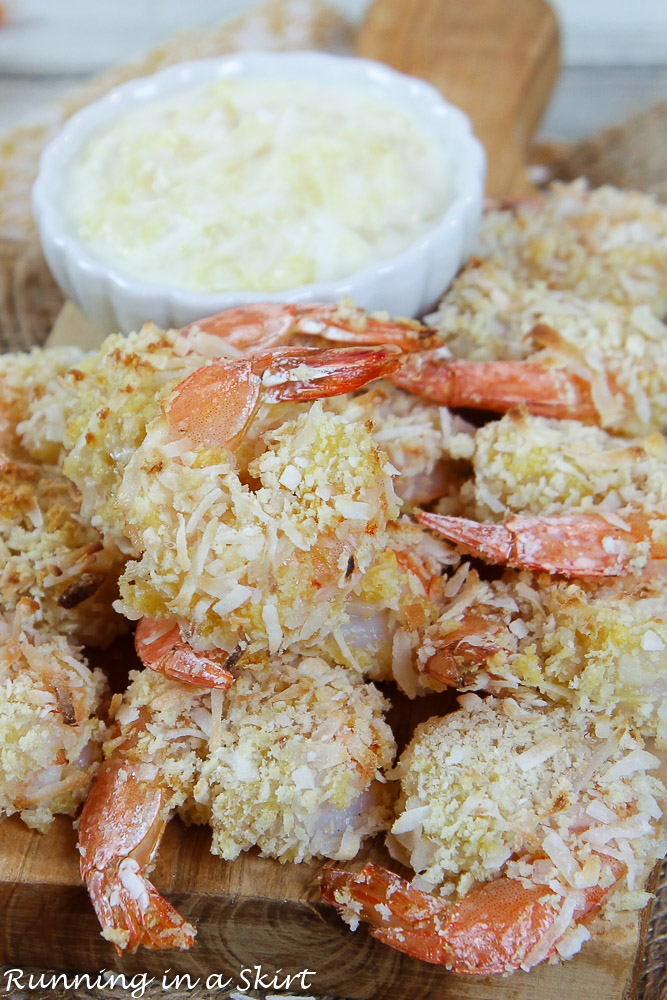 Baked Coconut Shrimp with the Pina Colada Dipping Sauce finished product.