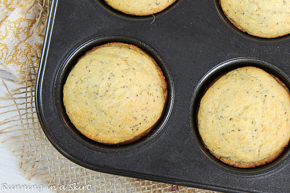 Muffins coming out of the oven.
