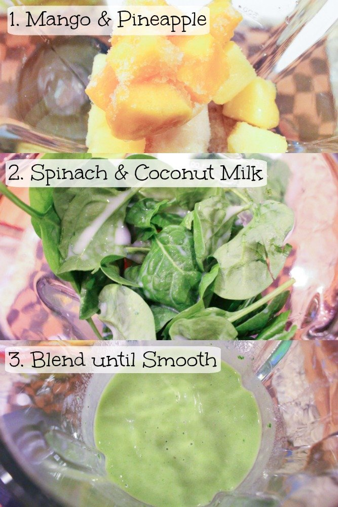 Step by step instructions photo on how to make a Tropical Island Green Smoothie.