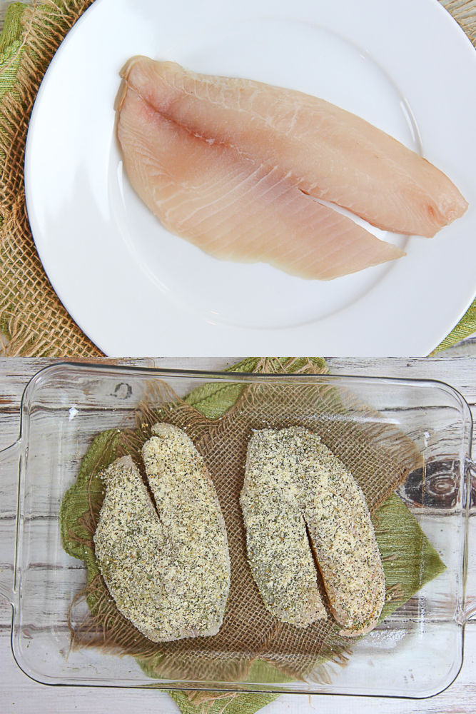 Process photos showing how to make the baked fish.