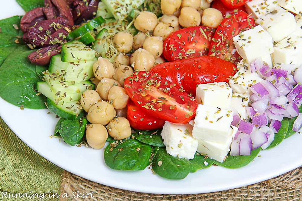 Close up of Mediterranean Chopped Salad on a plate.