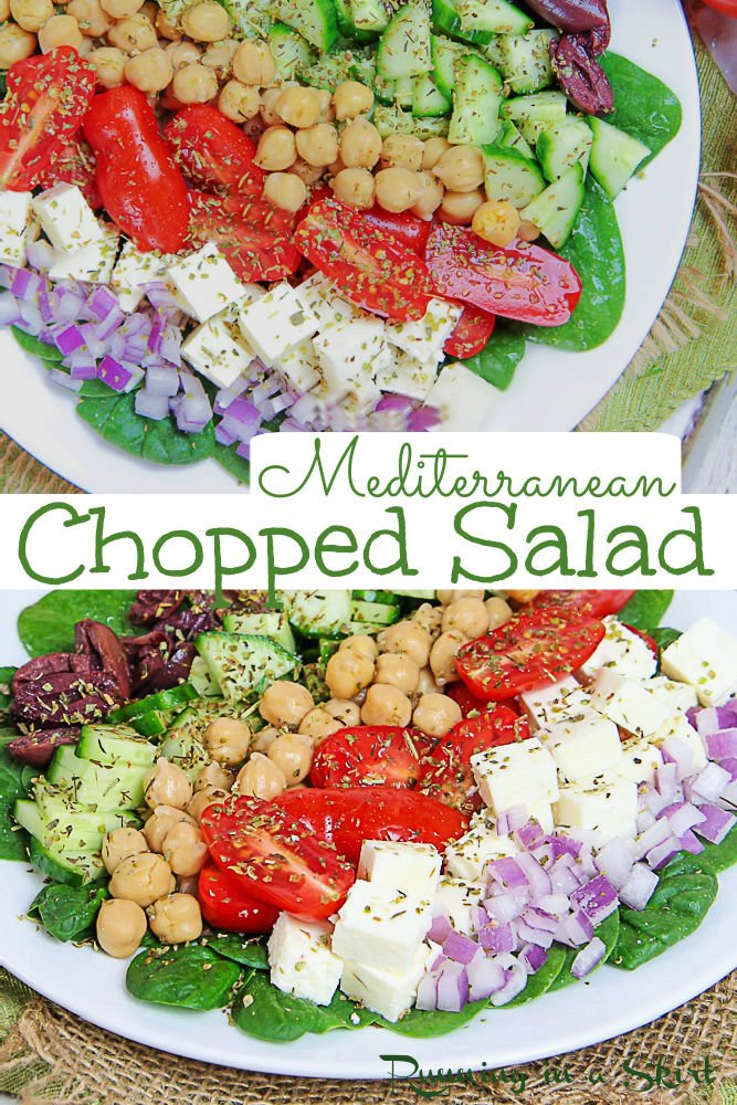 Mediterranean Chopped Salad recipe - The perfect Greek Chopped Salad with chickpeas, olives, cucumber, onion, tomato and cubed feta plus a healthy Greek Dressing. Serve in a bowl or on top of your favorite salad greens. This Mediterranean Chickpea Salad is the perfect clean eating light lunches or dinner. Packed with fresh veggies. Great for make ahead meals. Gluten Free, Vegetarian, Low Carb / Running in a Skirt #vegetarian #mediterraneandiet #greeksalad #healthyliving #saladrecipe via @juliewunder
