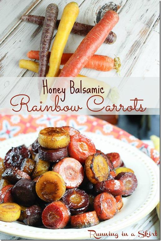 Healthy Honey Balsamic Rainbow Carrots recipe - roasted & glazed in honey balsamic - easy & simple / Running in a Skirt