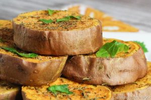 Roasted Sweet Potato Slices/ Running in a Skirt