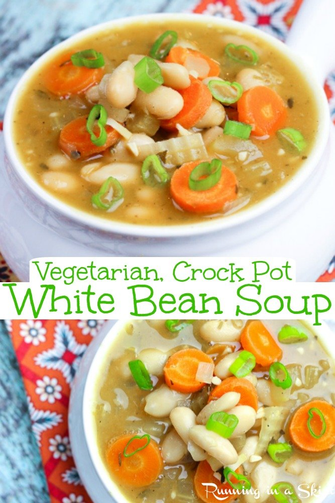 Crock Pot Vegetarian White Bean Soup recipe - an easy, healthy and clean eating soup for vegetarians and vegans! Cooks in the slow cooker or instapot too.  Mediterranean and Italian flavors.  A perfect simple veggie meal idea.  / Running in a Skirt #crockpot #slowcooker #vegetarian #vegan #plantbased #vegetariancrockpot #vegancrockpot #veganslowcooler #vegetarianslowcooker #healthy #recipe via @juliewunder