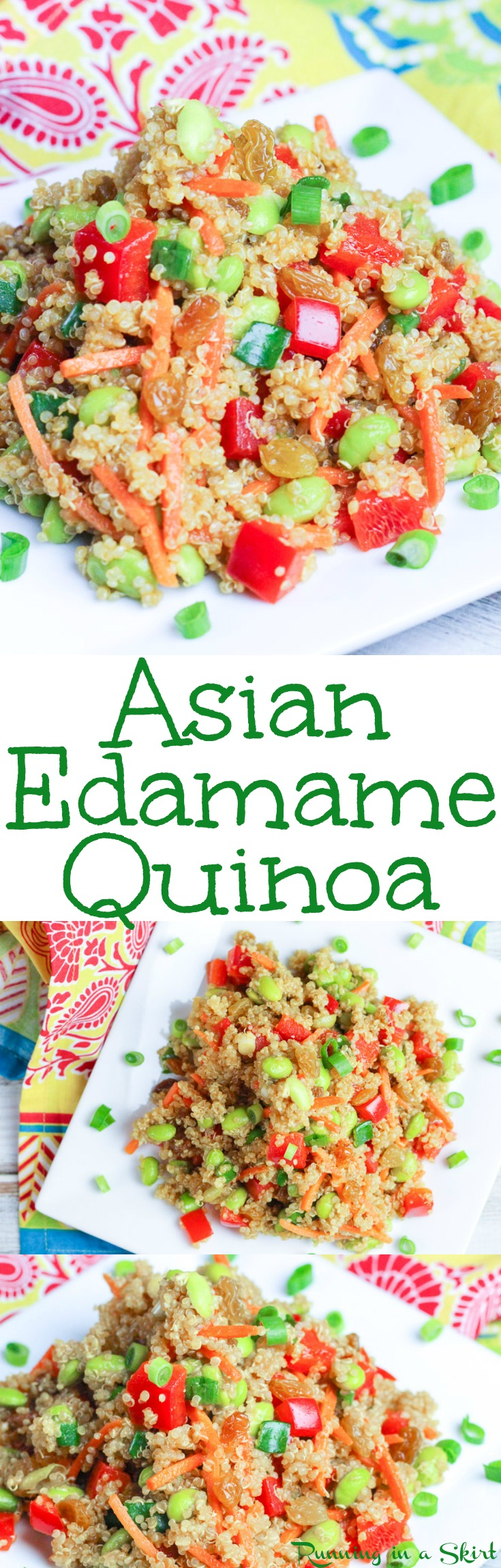 Healthy Asian Quinoa Salad recipe with Edamame - this high protein vegetarian and vegan dish is easy to make! It uses sesame oil, soy sauce and honey for a clean eating dressing. Packed with veggies making it the perfect food for dinners, lunches or appetizers. / Running in a Skirt via @juliewunder