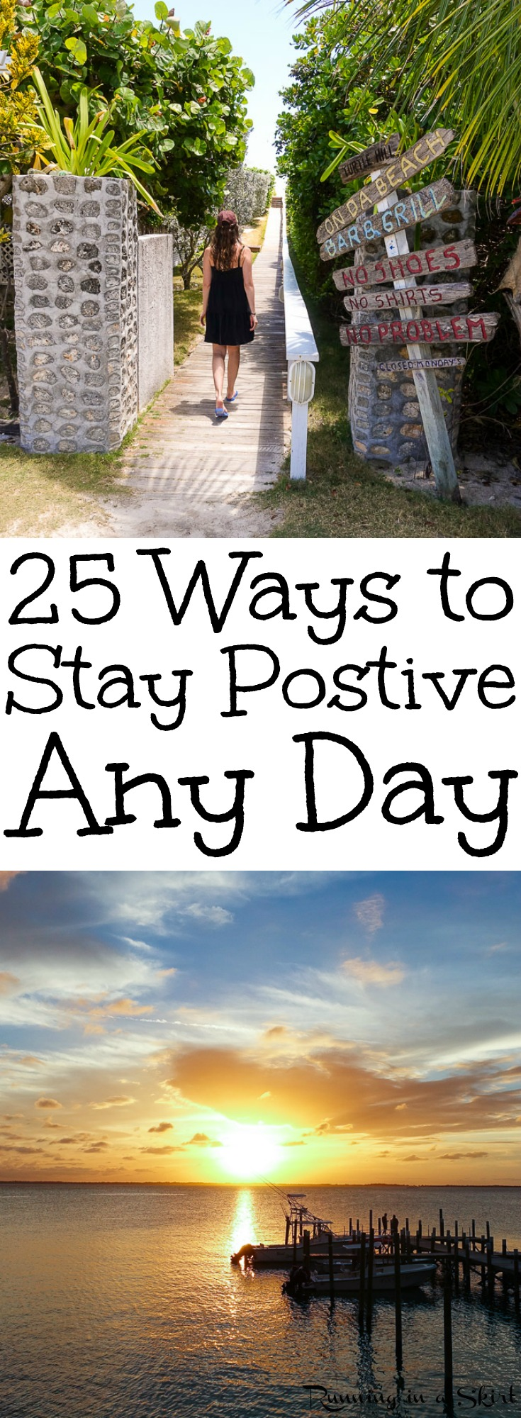 How to Stay Positive in a Negative World - 25 tips and motivation to stay positive any day and during hard times. Whether you are at home, at work or at school stress every day can be hard, but these bits of wisdom can help. / Running in a Skirt via @juliewunder