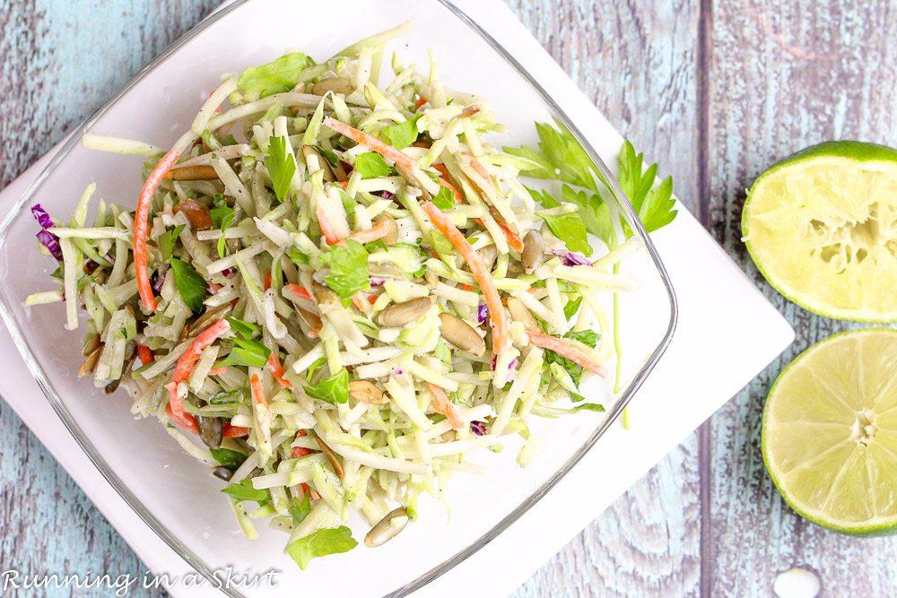 Healthy Broccoli Slaw in a bowl.