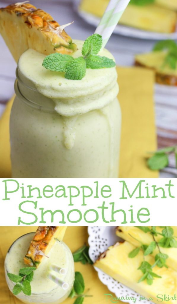 Pineapple Mint Smoothie recipe pinterest collage.
