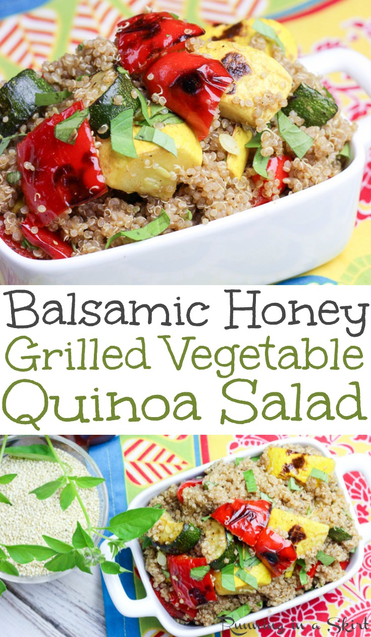 Healthy Balsamic Honey Grilled Vegetable Quinoa Salad - the perfect easy healthy recipes for summer!  The protein and veggies packed meals is full of red peppers and summer squash.  Vegetarian, gluten free and clean eating!  Vegan option also included / Running in a Skirt #quinoa #cleaneating #recipe #healthy #grilling #summer #glutenfree #vegetarian #vegan #vegetables via @juliewunder