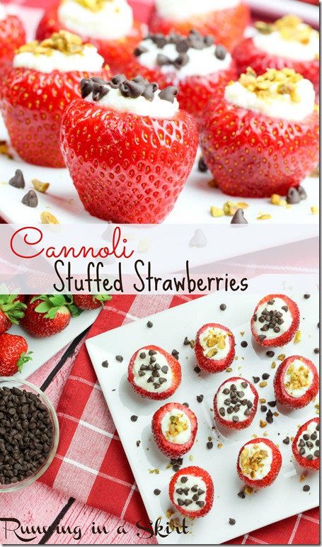 Cannoli Strawberries recipe / Delish & lighter way to get that classic cannoli flavor! / Running in a Skirt