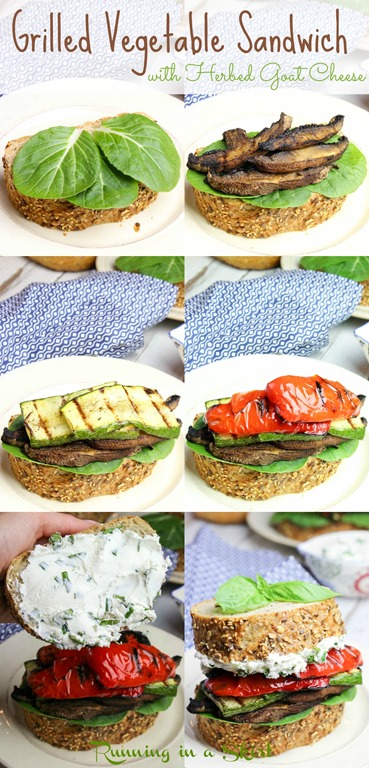 Healthy Grilled Vegetable Sandwich with easy, homemade Herbed Goat Cheese recipe. Stacked high with mushrooms, red peppers, and zucchini. If you are looking for vegetarian grilling recipes, this is the perfect one! | Running in a Skirt via @juliewunder