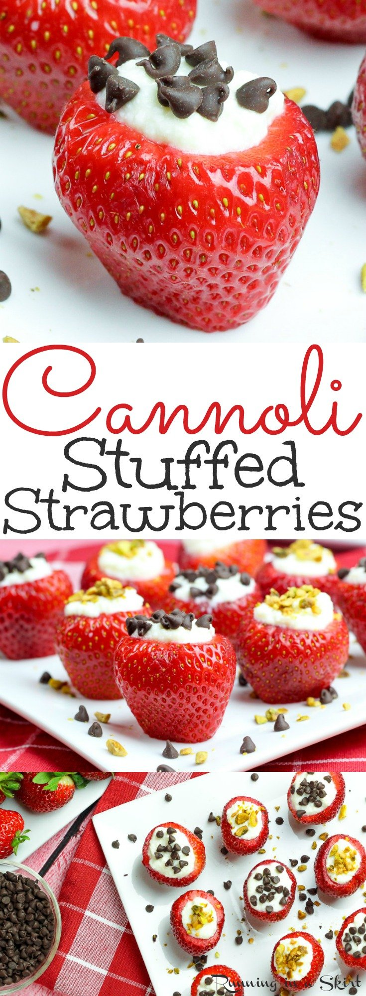 Easy & Healthy Cannoli Stuffed Strawberries recipe - a simple, low carb dessert with classic ricotta stuffing! These berries are the perfect fruit treats for summer parties like 4th of July, Memorial Day or Labor Day- also Valentine's Day! Also gluten free. / Running in a Skirt via @juliewunder