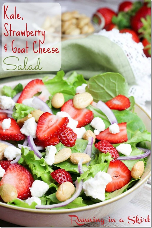 Kale, Strawberry Goat Cheese Salad / Perfect combination with a homemade dressing!