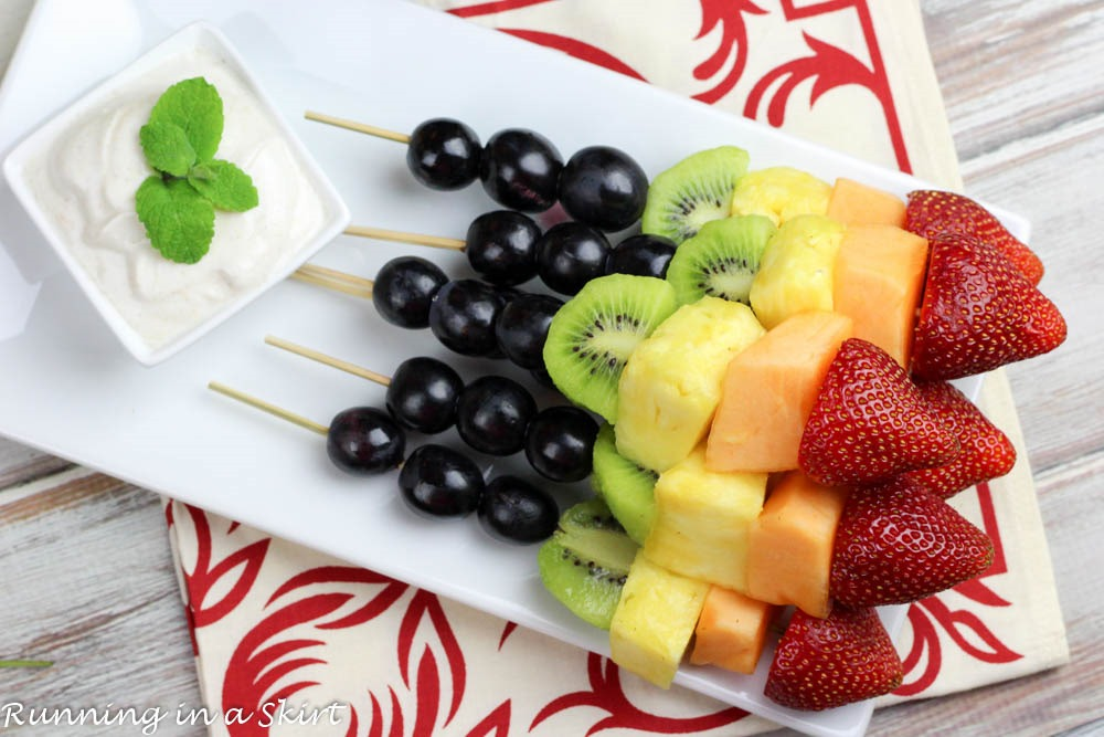 Rainbow Fruit Skewers with Dip - Honey Almond Dipping Sauce made with ...