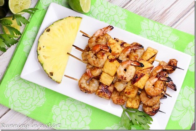 Overhead shot with grilled pineapple.