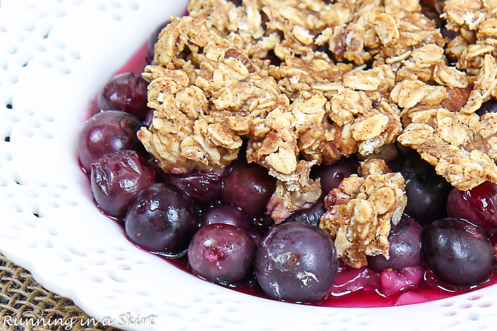 Close up of healthy blueberry crisp.