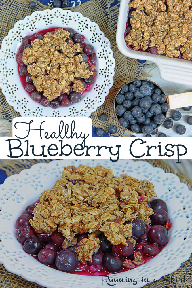 Healthy Blueberry Crisp recipe - easy & simple! The best Blueberry Crumble with honey instead of white sugar and apple sauce instead of butter. Oil free, dairy free, vegan and gluten free! Make with fresh or using frozen blueberries. A perfect healthy fruit crisp recipe for summer. Running in a Skirt #vegan #dairyfree #glutenfree #oilfree #blueberrycrisp #blueberrydessert #healthydessert via @juliewunder