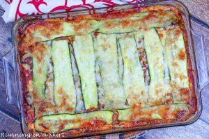 No Noodle Vegetarian Zucchini Lasagna in a baking dish.