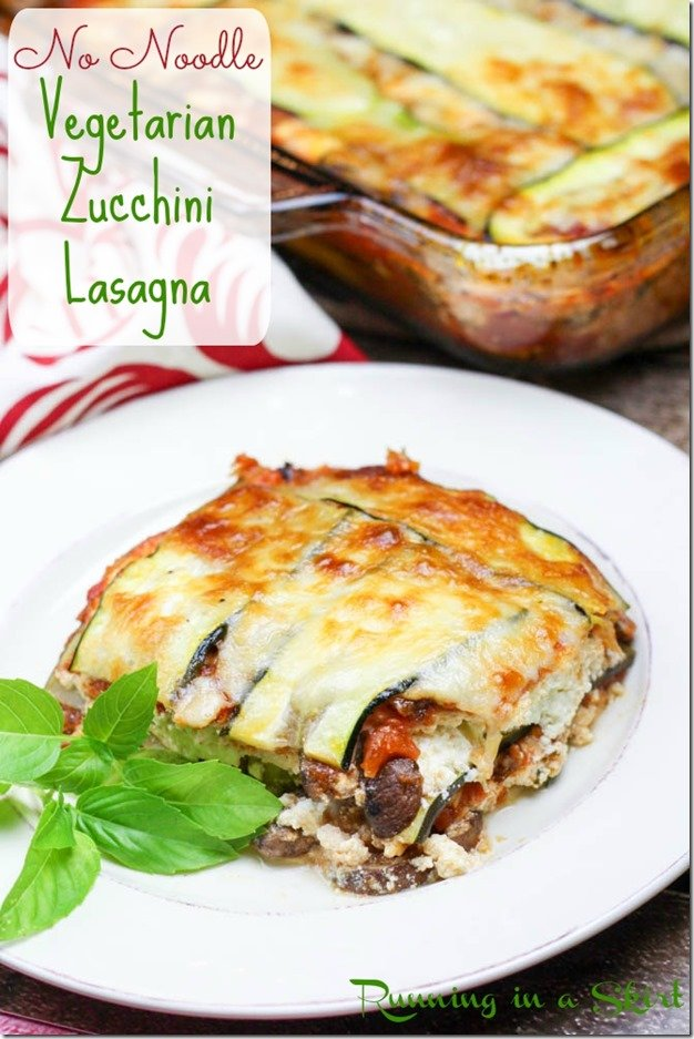 No noodle vegetarian zucchini lasagna on a white plate.