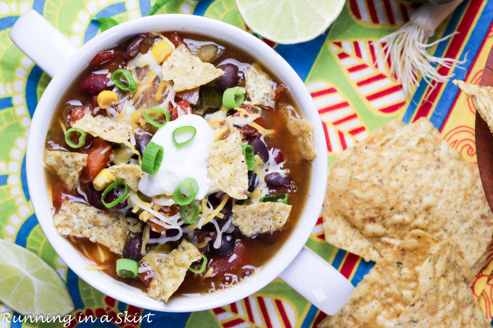Overhead shot of Vegetarian Taco soup in a bowl with chips.