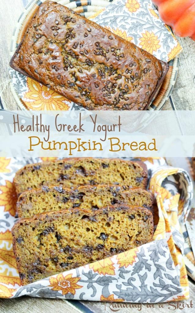Healthy Greek Yogurt Pumpkin Bread with chocolate chips! No oil and ...
