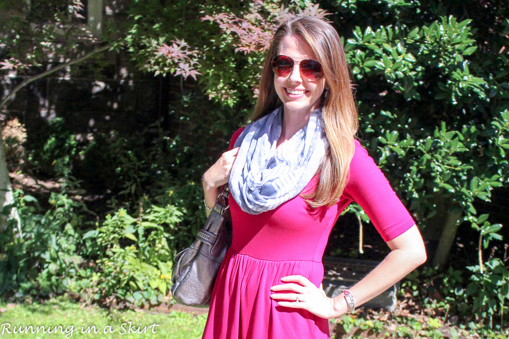 Fresh fall look! Pink dress with fringe booties! / Running in a Skirt