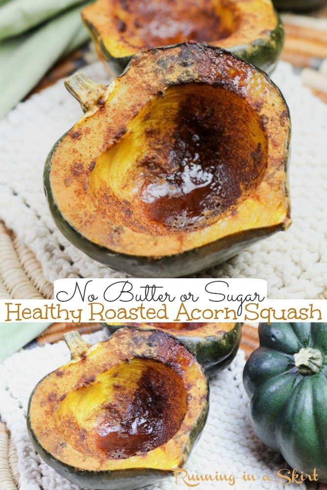 Healthy Acorn Squash recipe - clean eating (not loaded with butter or sugar) and heart healthy Baked Acorn Squash recipe that is perfect for dinner or lunch. Includes easy to follow how to cook instructions. / Running in a Skirt #fall #recipe #sidedishes via @juliewunder