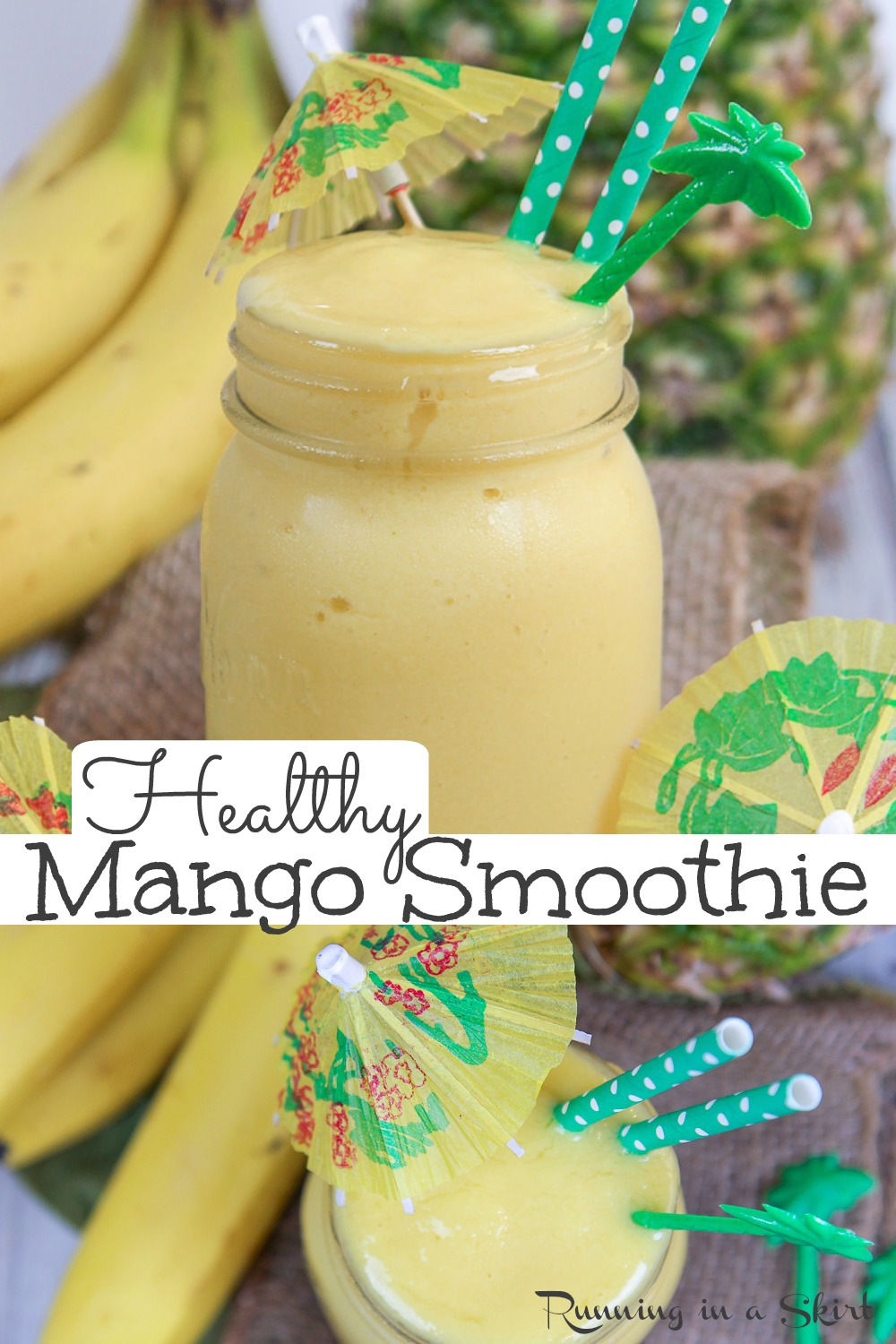 Healthy Mango Smoothie - the BEST Mango Pineapple Smoothie with Banana. Only 4 Ingredients! Super easy, healthy, and uses frozen fruit and coconut milk. A creamy vegan recipe without yogurt. Includes how to make a smoothie instruction. The perfect healthy breakfast. Clean Eating, Dairy Free, Low Calorie, Gluten Free / Running in a Skirt #vegetarian #vegan #vegansmoothie #smoothie #mango #cleaneating via @juliewunder
