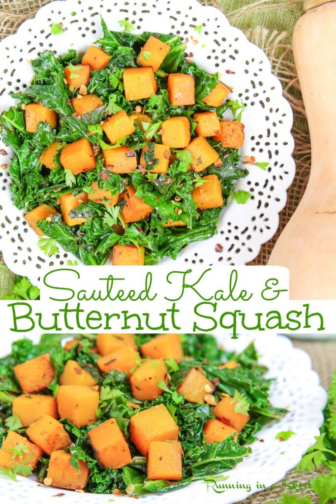 Pinterest pin for Sauteed Kale and Butternut Squash collage.