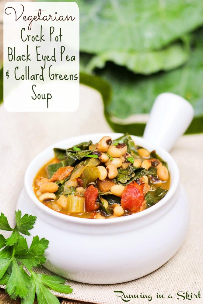 Vegetarian Crock Pot Black Eyed Peas and Collard Greens Soup